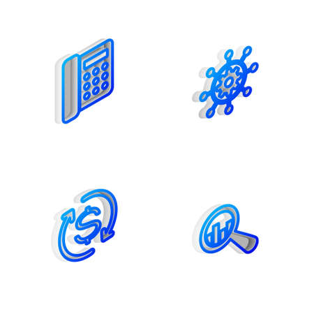 Set Isometric line Project management, Telephone, Return of investment and Magnifying glass and analysis icon. Vector