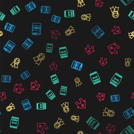 Set line Canned food for cat, Bag of pet, Cat award symbol and Veterinary medicine hospital on seamless pattern. Vector