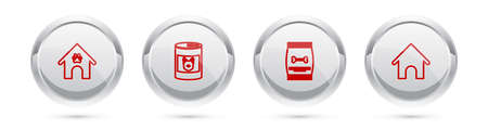 Set line Dog house and paw print pet, Canned food for dog, Bag of and . Silver circle button. Vector