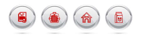 Set line Certificate for dog or cat, Pet carry case, Dog house and bone and Bag of food. Silver circle button. Vector
