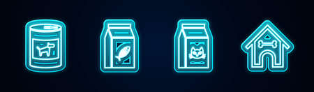 Set line Canned food for dog, Bag of cat, and Dog house and bone. Glowing neon icon. Vector