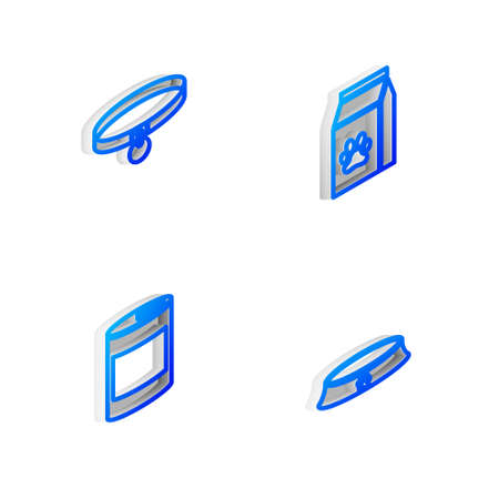 Set Isometric line Bag of food for pet, Collar, Canned and Pet bowl icon. Vector