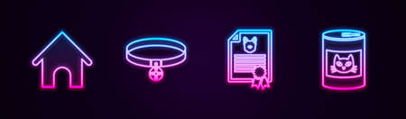 Set line Dog house, Collar with name tag, Certificate for dog or cat and Canned food. Glowing neon icon. Vector