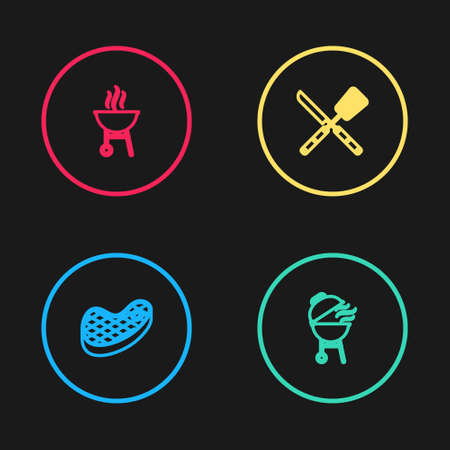 Set line Steak meat, Barbecue grill, Crossed knife and spatula and icon. Vector Çizim