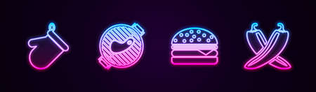 Set line Oven glove, Barbecue grill with steak, Burger and Crossed hot chili pepper pod. Glowing neon icon. Vector