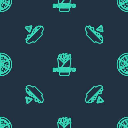 Set line Burrito, Nachos in plate and Pizza on seamless pattern. Vector