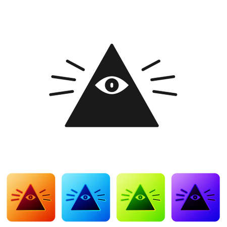 Black Masons symbol All-seeing eye of God icon isolated on white background. The eye of Providence in the triangle. Set icons in color square buttons. Vector Illustration