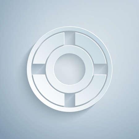 Paper cut Ashtray icon isolated on grey background. Paper art style. Vector Illustration Illusztráció