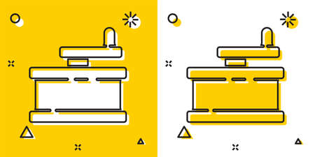 Black Manual grinder icon isolated on yellow and white background. Random dynamic shapes. Vector Illustration