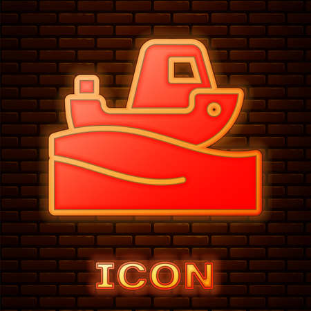 Glowing neon Fishing boat on water icon isolated on brick wall background. Vector