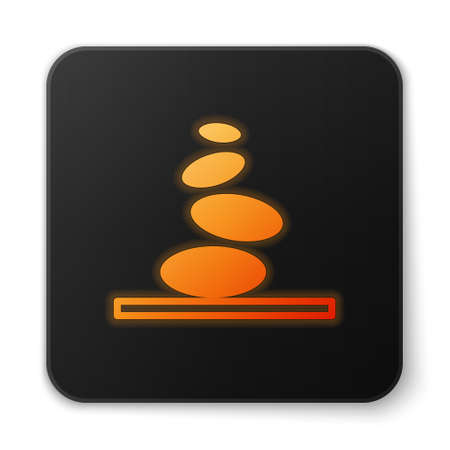 Orange glowing neon Stack hot stones icon isolated on white background. Spa salon accessory. Black square button. Vector 向量圖像
