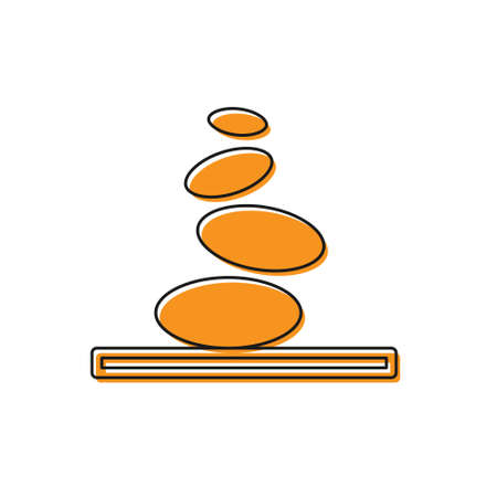Orange Stack hot stones icon isolated on white background. Spa salon accessory. Vector 向量圖像