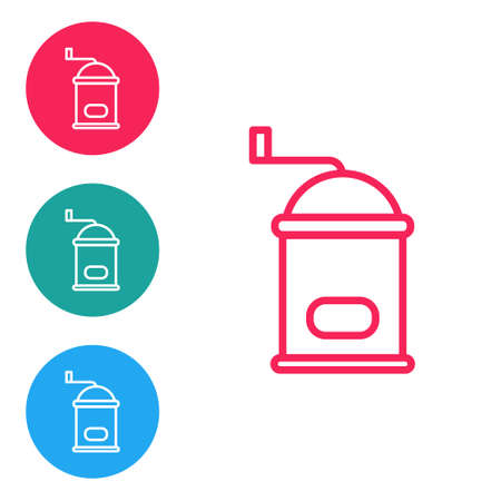 Red line Manual coffee grinder icon isolated on white background. Set icons in circle buttons. Vector Illustration Çizim