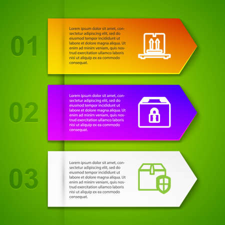 Set line Cardboard boxes on pallet, Locked package, Delivery security shield and Verification of delivery list. Business infographic template. Vector