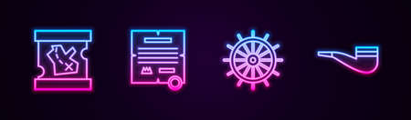 Set line Pirate treasure map, Decree, parchment, scroll, Ship steering wheel and Smoking pipe. Glowing neon icon. Vector Çizim