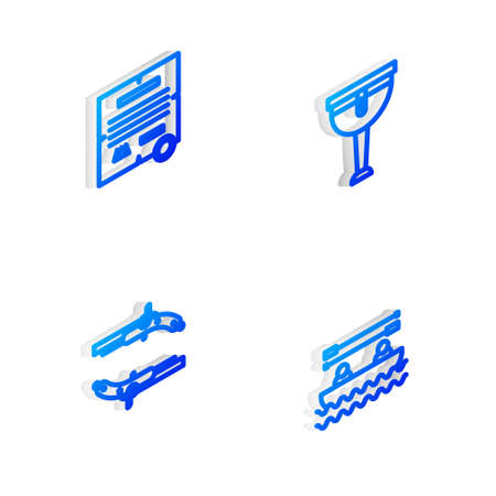 Set Isometric line Wooden pirate leg, Decree, parchment, scroll, Vintage pistols and Boat with oars icon. Vector