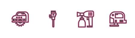 Set line Electric circular saw, Paint spray gun, Construction jackhammer and jigsaw icon. Vector