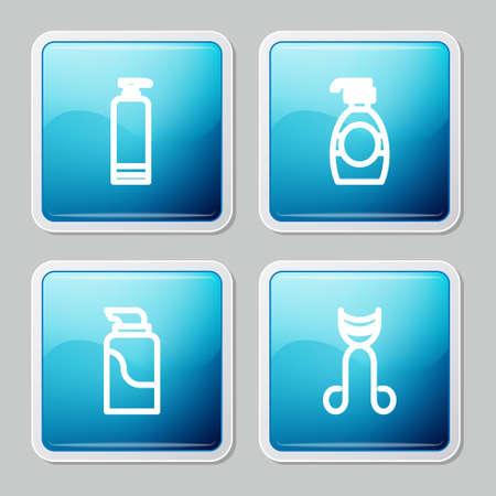 Set line Cream cosmetic tube, Bottle of liquid soap, and Eyelash curler icon. Vector