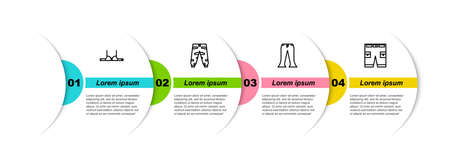 Set line Bra, Camouflage cargo pants, Pants and Short or. Business infographic template. Vector