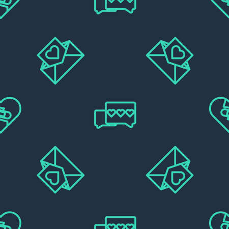 Set line Like and heart, Envelope with Valentine and Healed broken on seamless pattern. Vector