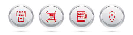 Set line Castle tower, Decree, parchment, scroll, Wooden mug and Shield. Silver circle button. Vector