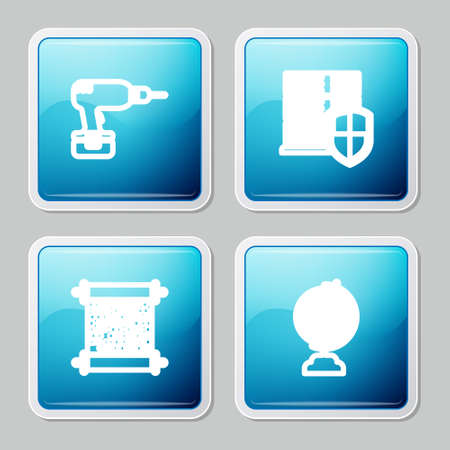 Set line Drill machine, Server with shield, Paper scroll and Earth globe icon. Vector