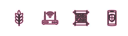 Set line Wheat, Paper scroll, Router and wifi and Smartphone with shield icon. Vector