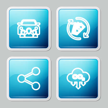 Set line Car sharing, Refund money, Share and CO2 emissions cloud icon. Vector