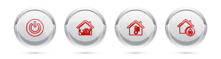 Set line Power button, Smart home, House temperature and humidity. Silver circle button. Vector 向量圖像