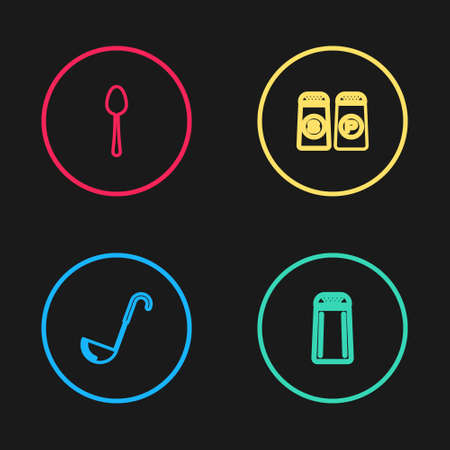 Set line Kitchen ladle, Salt and pepper, and Spoon icon. Vector