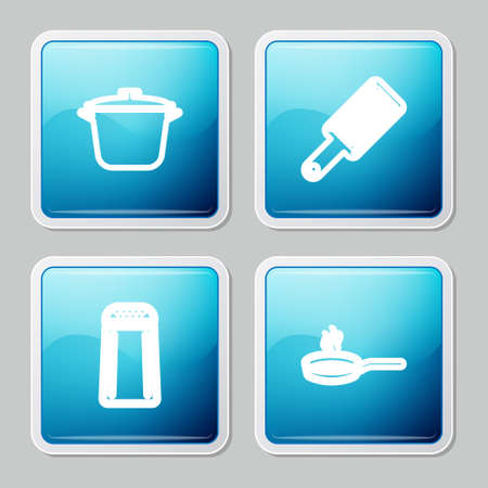 Set line Cooking pot, Grater, Salt and pepper and Frying pan icon. Vector Çizim