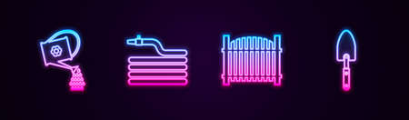 Set line Watering can, Garden hose or fire hose, fence and trowel spade shovel. Glowing neon icon. Vector