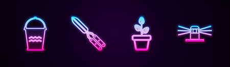 Set line Bucket, Gardening handmade scissor, Flowers pot and Automatic irrigation sprinklers. Glowing neon icon. Vector 向量圖像