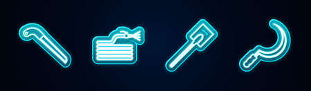 Set line Garden saw, hose or fire hose, shovel and Sickle. Glowing neon icon. Vector