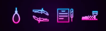 Set line Gallows rope loop hanging, Vintage pistols, Feather pen and scroll and Treasure riches. Glowing neon icon. Vector