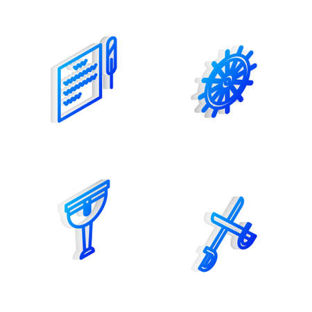 Set Isometric line Ship steering wheel, Feather pen and scroll, Wooden pirate leg and Crossed swords icon. Vector Çizim
