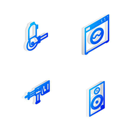 Set Isometric line Washer, Angle grinder, Rotary hammer drill machine and Stereo speaker icon. Vector