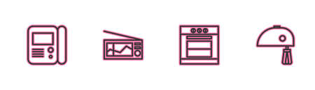 Set line House intercom system, Oven, Radio and Electric mixer icon. Vector