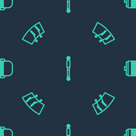 Set line Shock absorber, Windscreen wiper and Electric engine on seamless pattern. Vector