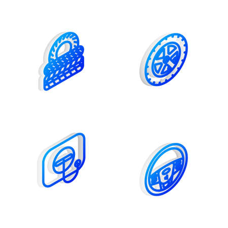 Set Isometric line Car wheel, tire, Oil filler cap at gas station and Steering icon. Vector 向量圖像