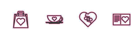 Set line Shopping bag with heart, Healed broken, Coffee cup and and Valentines day flyer icon. Vector
