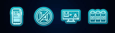 Set line Stop plastic pollution, Say no bags poster, and Trash in garbage cans sorted. Glowing neon icon. Vector