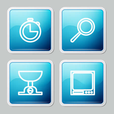 Set line Kitchen timer, Frying pan, Electronic scales and icon. Vector
