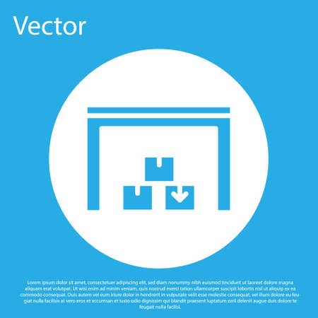 Blue Warehouse icon isolated on blue background. White circle button. Vector Ilustração