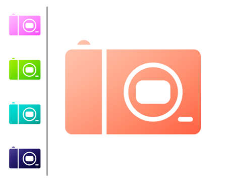 Coral Photo camera icon isolated on white background. Foto camera icon. Set color icons. Vector Çizim