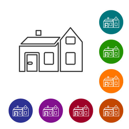 Black line House icon isolated on white background. Home symbol. Set icons in color circle buttons. Vector Ilustração