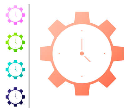 Coral Time Management icon isolated on white background. Clock and gear sign. Productivity symbol. Set color icons. Vector