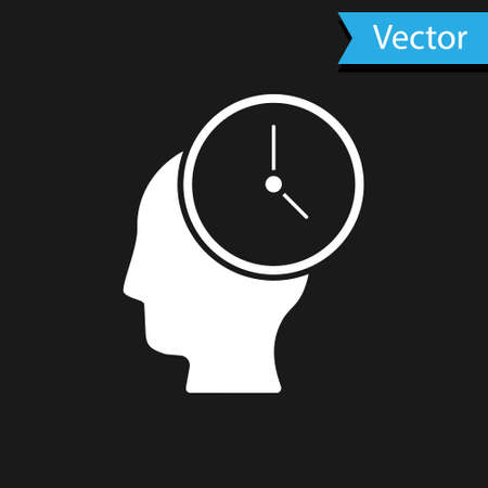 White Time Management icon isolated on black background. Clock and gear sign. Productivity symbol. Vector