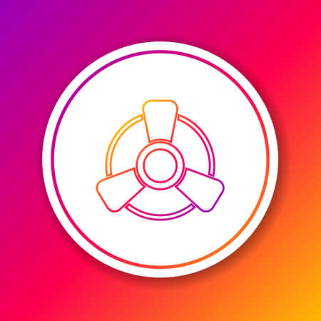 Color line Car motor ventilator icon isolated on color background. Circle white button. Vector Stock Illustratie