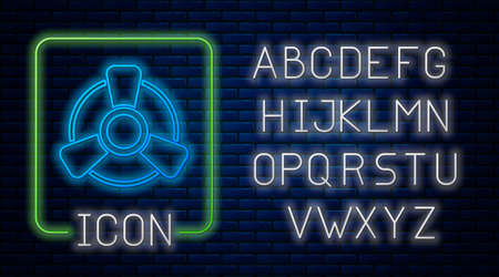 Glowing neon Car motor ventilator icon isolated on brick wall background. Neon light alphabet. Vector Stock Illustratie